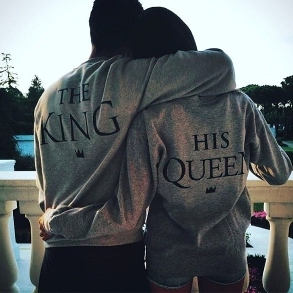2017 new fashion Lover Couple s Clothes King & His Queen Men and Women s Casual Cotton Sweatshirts F