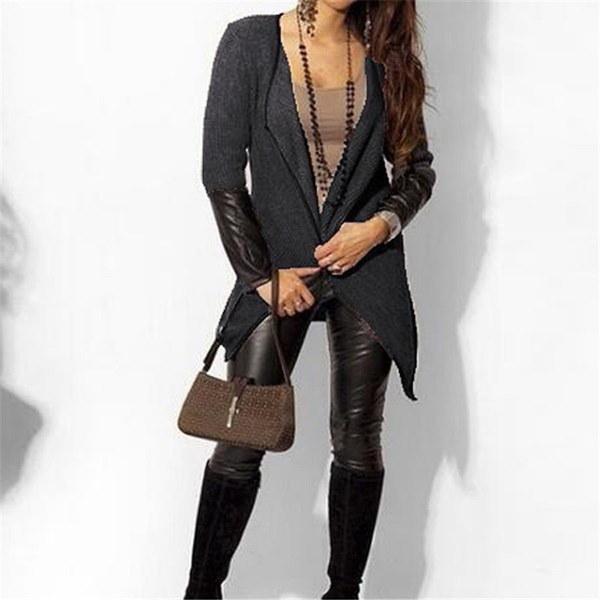新しい春のファッション女性レザーロングスリーブニットカーディガンコートシンコートジャケットブラックホワイトポンチ