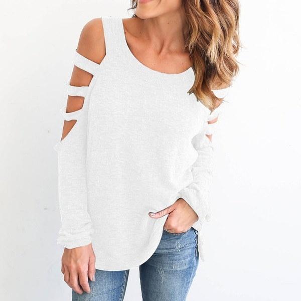 女性のファッションカジュアルソリッドカラーカット中空ロングスリーブTシャツ