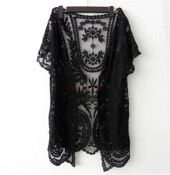 レディース中空シャツレース刺繍花かぎ針編み半袖カーディガンワンサイズSV001747ニット