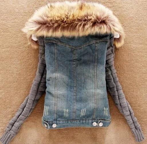 女性秋と冬レディースラムファーカラースリムショートジャケットジャケット女性のコート