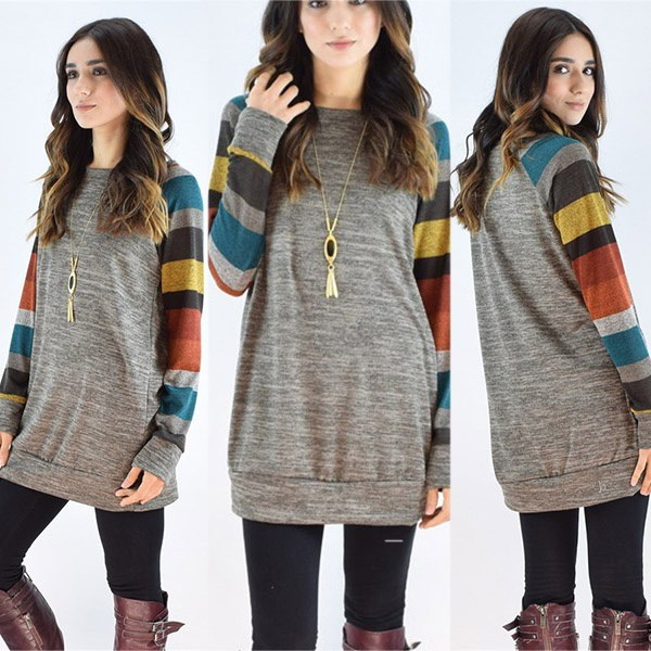 Women s Cotton Knitted Long Sleeve Lightweight Tunic Sweatshirt Tops