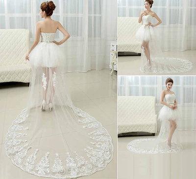 可愛い礼服 ウェディングドレス 花嫁 ミニ丈 ロングトレーン ベアトップ 韓国風 スイート XCMS73