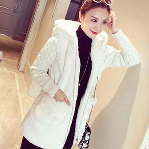 Women Warm Loose Fluffy Knitting Stitching Plush Hoodie Jacket(Khaki,White,Grey,S-4XL)