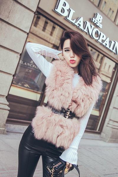 レディースベストベルト付き毛皮ベスト大きいサイズ 小さいサイズ秋冬