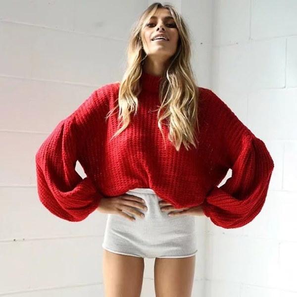 女性ファッションウィンターニットカジュアルルーズランタンスリーブセータートップ