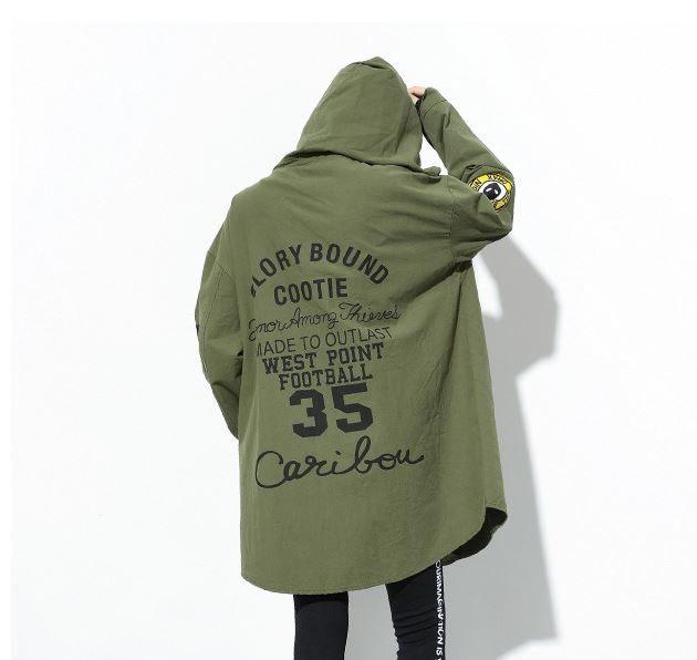 【即日発送】ブルゾンジャケット 羽織り 体型カバー ワッペン 新作 2カラー 英字ロゴ フード/ふわふわり