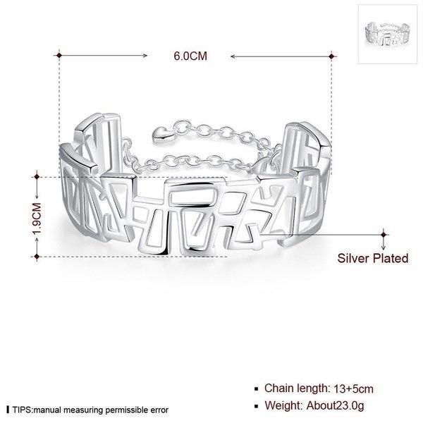 B239 925スターリングシルバーの高級デザイン幾何学バングルブレスレット(サイズ:6 cm、カラー:シルバー)