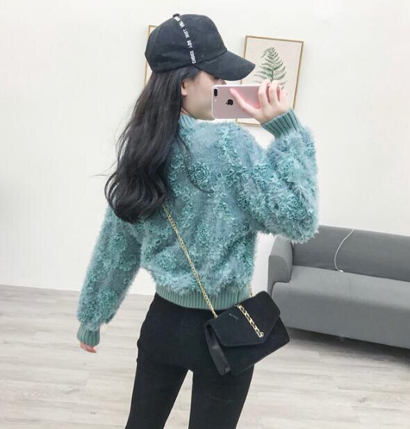 [55555SHOP]主役級デザイン韓国ファッション 一目惚れ! モヘアニットトップス セーター ファーニット ふわふわ ゆるファーニット