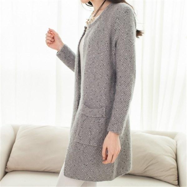 女性の長袖ニットカーディガン秋のかぎ針編みのレディースカジュアルセーターファッション女性のカーディガン