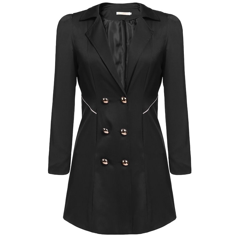 新しいファッションの女性のカジュアルスリムロングウインドジャケットのラペルトレンチコートのポケットを生き抜きます