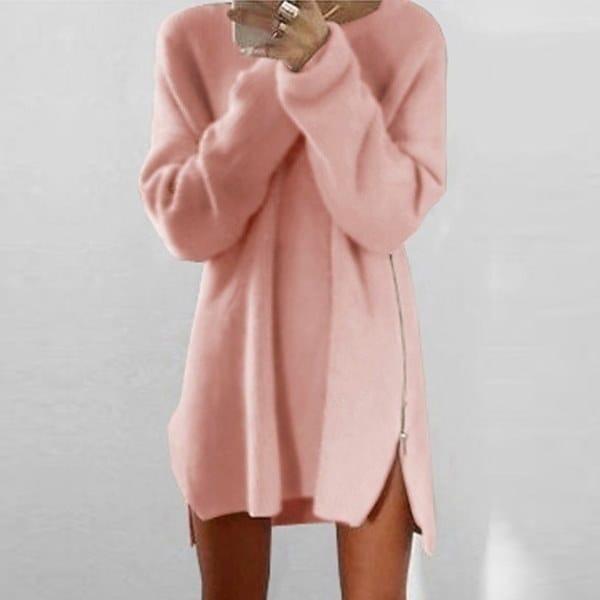 MXNINAカジュアルルーズ暖かい膝のポリエステルプレーンニットジッパー女性のセータードレスwmnC1611