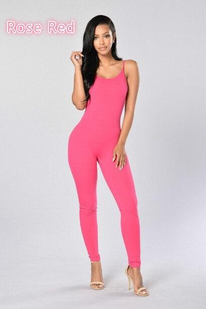 ファッション女性のソリッドカラーノースリーブジャンプスーツ
