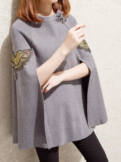 秋冬 新作 レディース ファッション 刺繍 ケープ ラウンドネック ルーズ 無地 セーター トップス