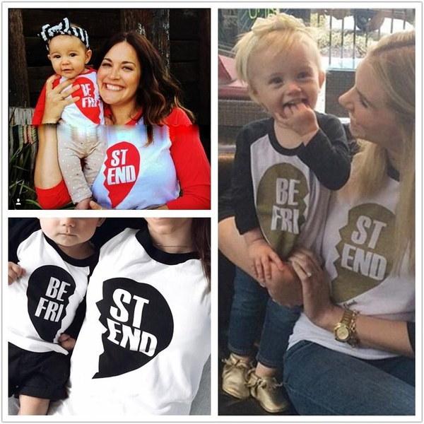 ファミリー服ファミリーマッチング衣装Tシャツマザー娘息子子供服トップロングスリーブ