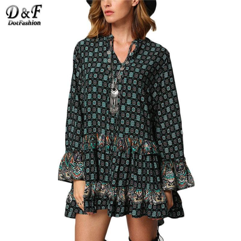 ダーク グリーン部族プリント女性の ドレス かわいい ヴィンテージ スタイルハイストリート v ネック ロング フレア袖フリル緩い ミニ ドレス