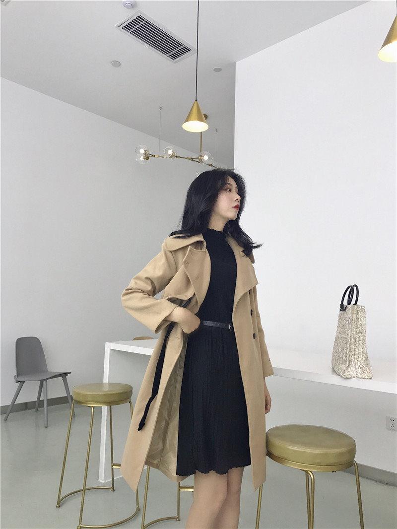 [55555SHOP]韓版chic風復古無地開襟単コーデにストラップで長めツイードジャケットコート女秋冬の上着