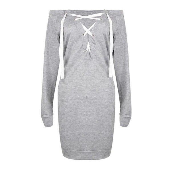 Sexy Lace Up Bandage Deep V-Neck Off Shoulder Long Sleeve Women Fall Fashion  Pullover Hoodies