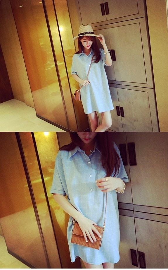 チェックシャツ シャツワンピ ロングシャツ カジュアル シンプル ゆるカジ 半袖シャツ レディース ファッション グレー ブルー 青 ボタン フリーサイズ ミニスカ チュニック セクシー ガーリー ナチュラル 可愛い スカート (64-64) ※納期に10日から14日ほどかかります。