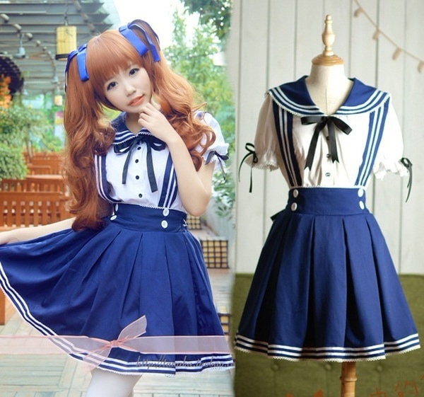 日本の学校制服コスプレ衣装アニメガールメイドセーラーロリータドレスストライプブルーSS