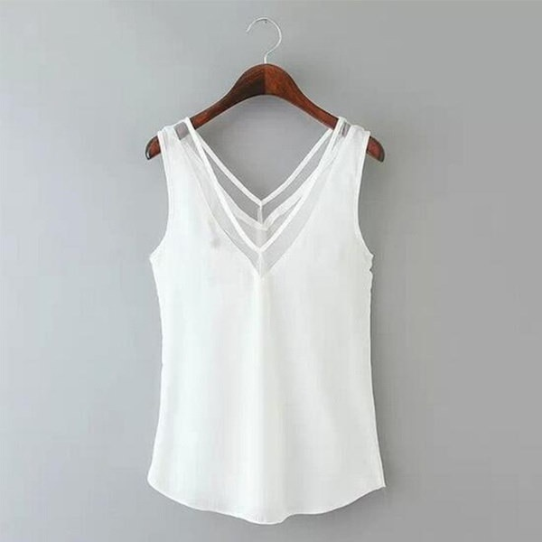 New V-neck Chiffion Mesh Stitching Vest Women Casual Sleeveless Tops Tee Shirt