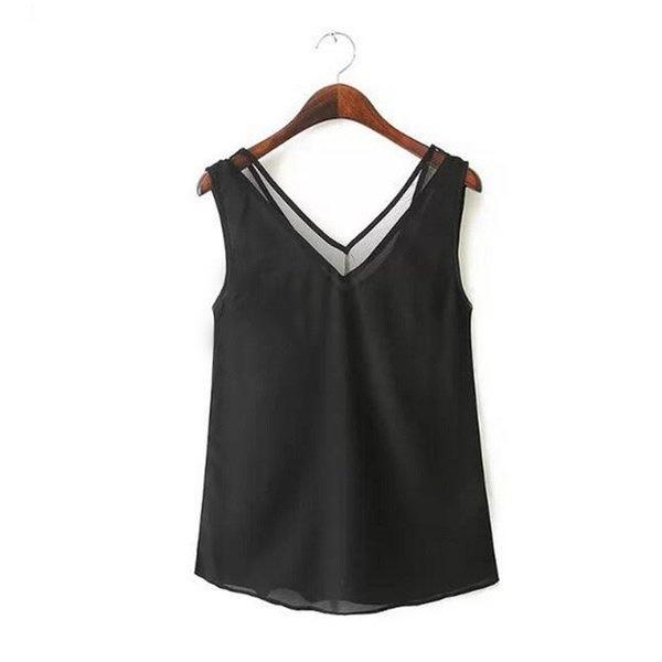 New V-neck Chiffion Mesh Stitching Vest Women Casual Sleeveless Tops Tee Shirt