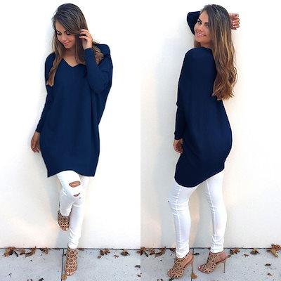 AOUMファッション秋冬の服レディースVネックルーズニットOversizedバギーセータージャンパートップドレスアウトレットプラスサイズS-XL Vestidos