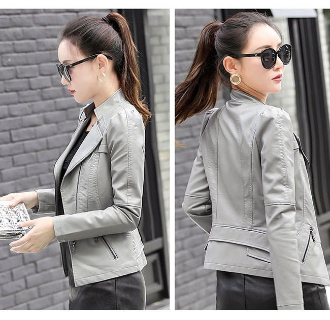 レディス服 女性 アウターウエア コート 上着 ジャケット オーバー スタジャン ファッション 韓国風 秋色 シャーベットカラー ガーリー レザーコート 本革風 シンプル 着痩せ