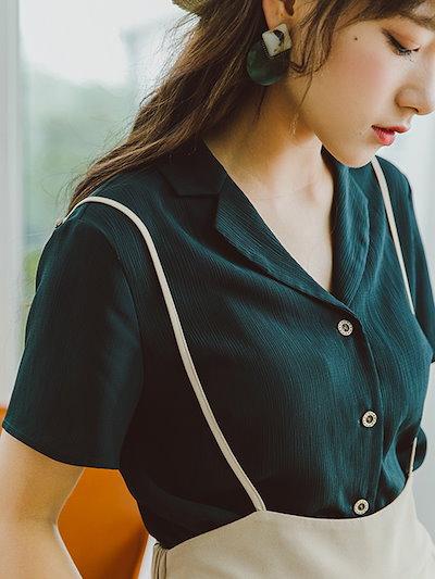 ◎人気のお品◎ スキッパ―ネック シンプル シャツ 半袖 シフォン ブラウス フェミニンkmy0777