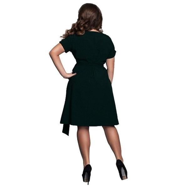 女性のソリッドカラー半袖ミニカジュアルプラスサイズドレスウエストバンドL  -  6XL(アジアサイズ)