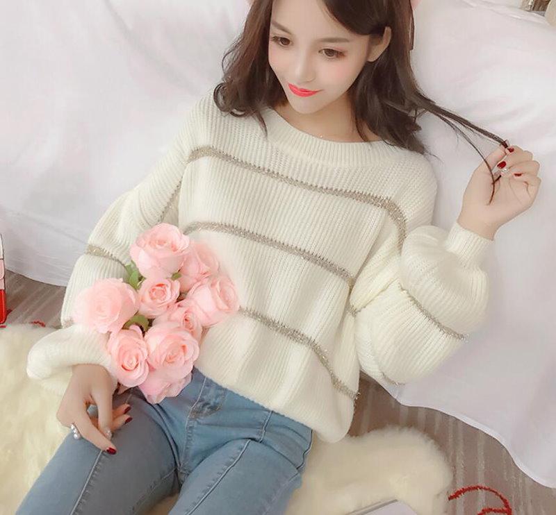 [55555SHOP]レディーストレント/ 女性大人気/長袖ニットカットソー/Vネックサイドスリット/韓国ファッションな