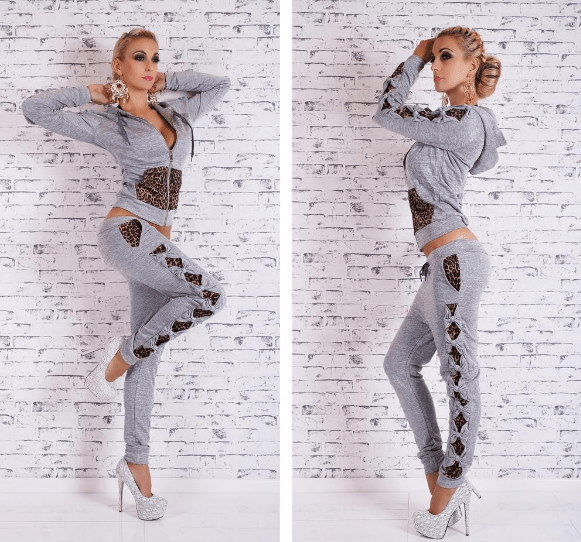 New womens bow stitching spring  autumn leisure sports suit