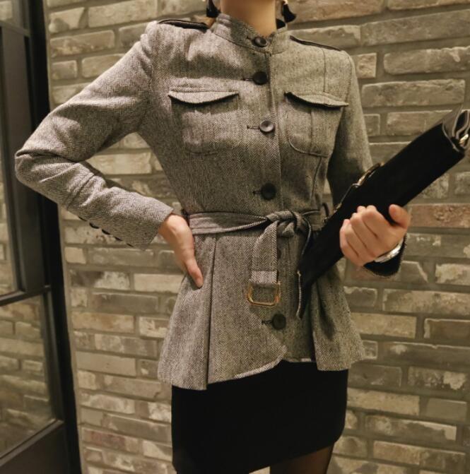 上品で温かい!ベルスリーブショール襟ウールコートコート/アウター/ウール/ハイネック/ドレープ