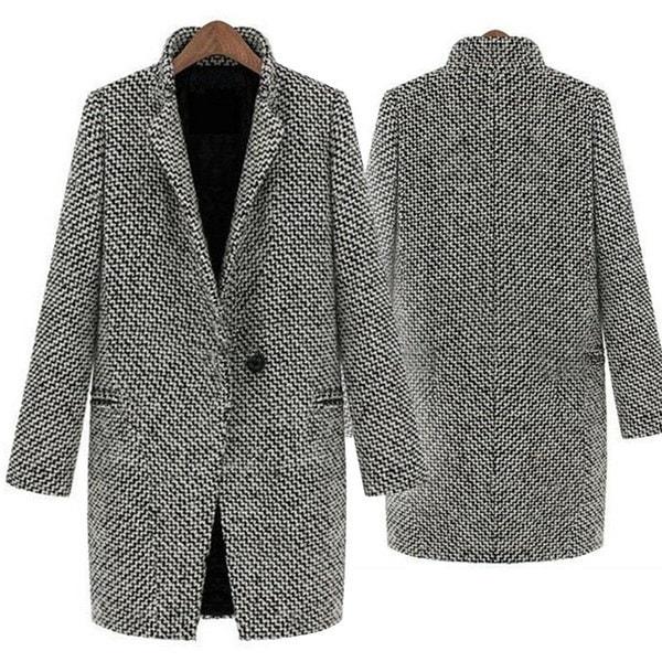 women houndstooth medium-long winter coat woollen warm single breasted peacoat women casual streetwe