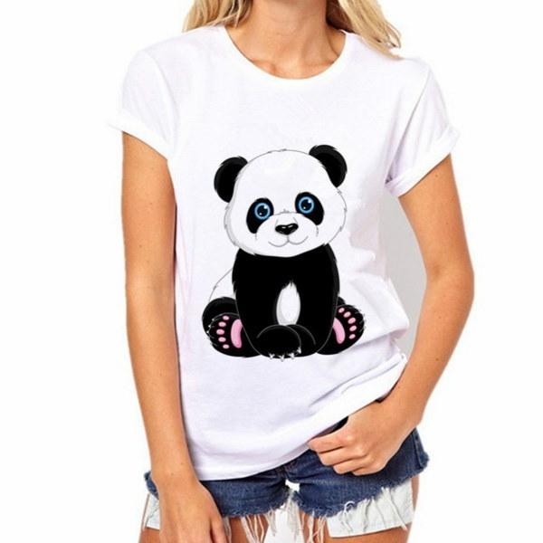 新しいファッション女性のTシャツ夏のかわいいパンダプリントTシャツ女性のシャツ