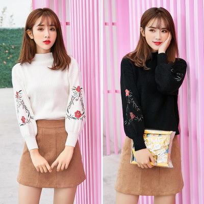 秋冬 新品 韓国風 ゆったり 刺繍 タートルネック 長袖 スウィート ファッション レディーズ女性 ニット