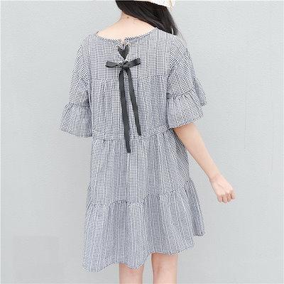 1058.フリルとリボンがかわいい チェック柄半袖ワンピース(ブラック)