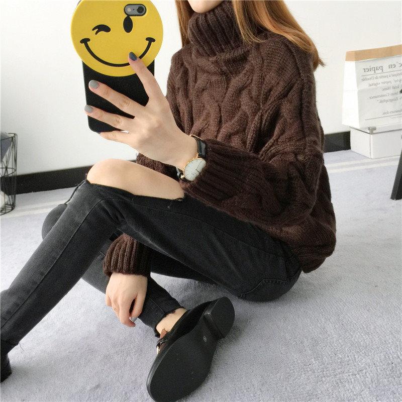 ハイネックセーター 大人 暖かいニット/超人気可愛いタートルネック美ラインニットインナーセーター 冬でもオシャレな可愛いインナーニット レディース 秋 冬ファッション ケーブル編みデザイン