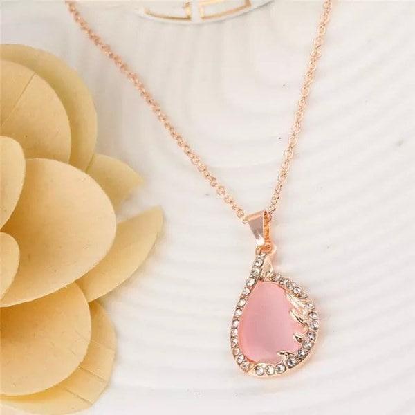 ロマンチックなエレガントローズゴールドメッキピンクの色クリスタルラインストーンオパールリーフフラワー水ダングルの耳