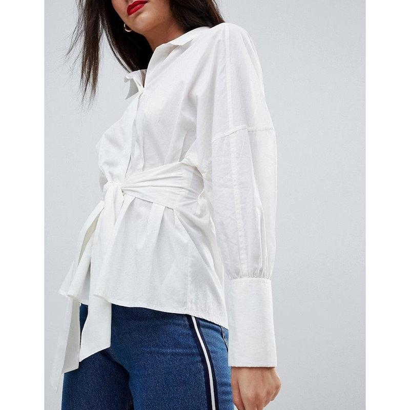 ヴェロモーダ レディース トップス【Vero Moda Tall Shirt With Front Tie】White
