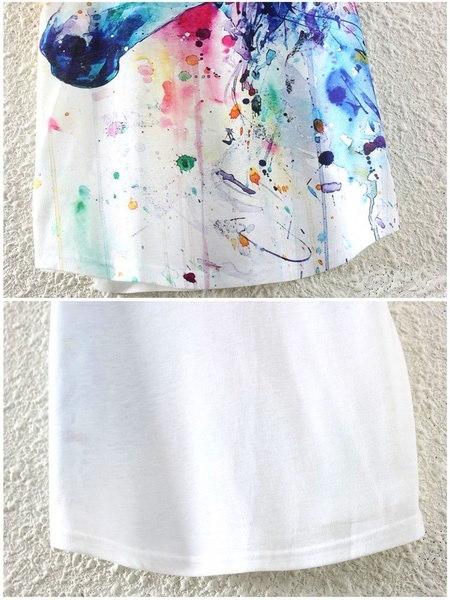 インク馬プリントヨーロッパとアメリカのスタイルのブラウス夏の女性の女の子新しいファッションOネックショートS