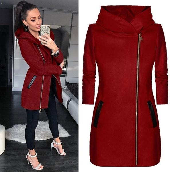 Winter Warm Coat Long Sleeve Casual Zipper Jacket Hooded Coats Womens Outwear Tops WS4303TMS
