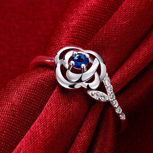 天然サファイアダイヤモンド925スターリングシルバーローズ結婚式約束女性リングサイズ6 7 8 9