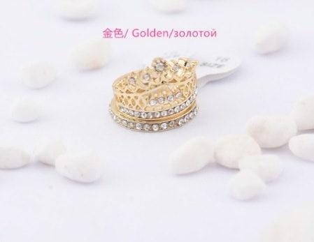 エレガントなオーストリアのクリスタルクラウンリングキラキラキュートなCZダイヤモンドパーティー婚約指輪Hot107-13-0068