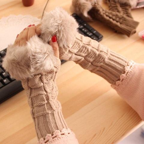 A194長い半分の手袋の韓国の素敵なダイヤモンド暖かい冬の模造毛皮のニット厚いセクション