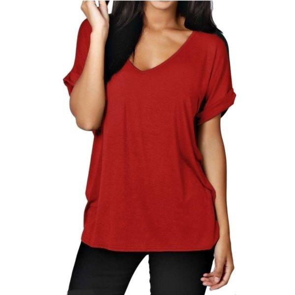 SML XL 2XL 3XL 4XL 5XL 7色Damen Sommer TシャツBluseトップV-AusschnittダメージシャツロングシャツL