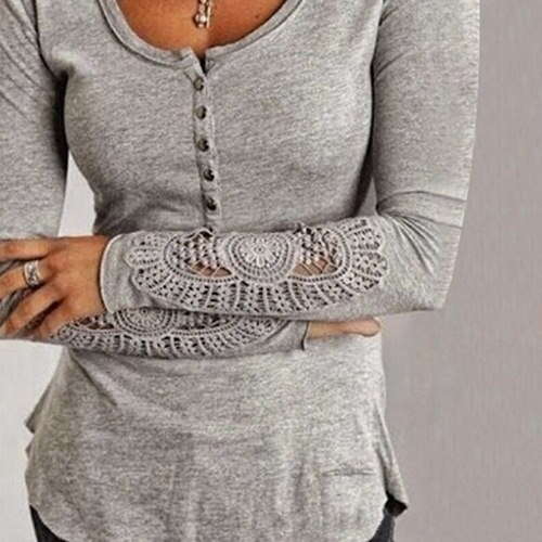 春の女性長袖刺繍レースボタンVネックルーズティーシャツトップブラウス(NEWサイズチャート)