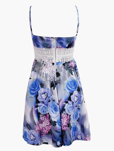 Straps Neck Sleeveless Printed Lace Detail Flared Dress