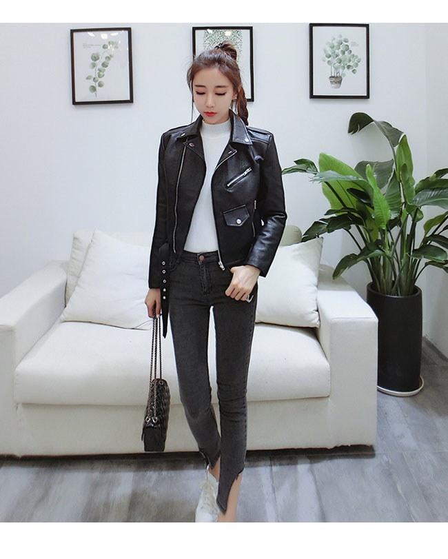 レディス服 女性 アウター コート 上着 ジャケット オーバー スタジャン ファッション 韓国風 ラペル ピンク ブラック 本革風 ショート丈 短い丈 ロック ベルト ハイウエスト レザー·コート