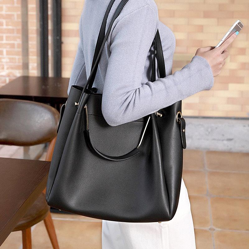 3ways大容量2点親子バッグ 革バッグ 通勤/旅行バッグ トートバッグ/ショルダーバッグ シンプルデザイン 豊かな3色